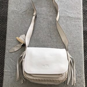 White pebbled leather Coach bag